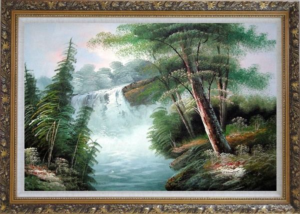 Framed Fantastic Waterfall Scenery Oil Painting Landscape Naturalism Ornate Antique Dark Gold Wood Frame 30 x 42 Inches