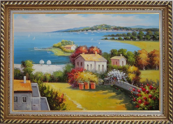 Framed Mediterranean Paradise with House, Garden and Beautiful Sea View Oil Painting Naturalism Exquisite Gold Wood Frame 30 x 42 Inches