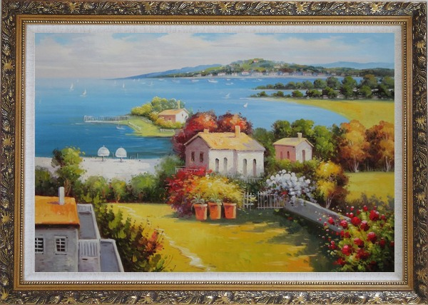 Framed Mediterranean Paradise with House, Garden and Beautiful Sea View Oil Painting Naturalism Ornate Antique Dark Gold Wood Frame 30 x 42 Inches
