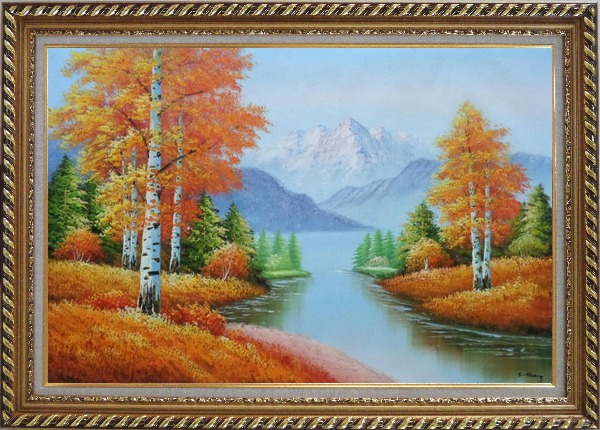Framed Riverside Autumn-time Golden Aspen Forest Scenery Oil Painting Landscape Tree Naturalism Exquisite Gold Wood Frame 30 x 42 Inches
