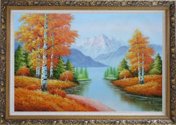 Framed Riverside Autumn-time Golden Aspen Forest Scenery Oil Painting Landscape Tree Naturalism Ornate Antique Dark Gold Wood Frame 30 x 42 Inches