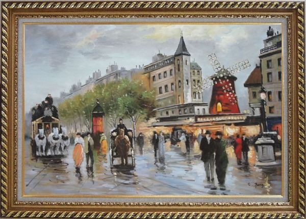 Framed People Walk on Paris Street at Dusk Oil Painting Cityscape France Impressionism Exquisite Gold Wood Frame 30 x 42 Inches