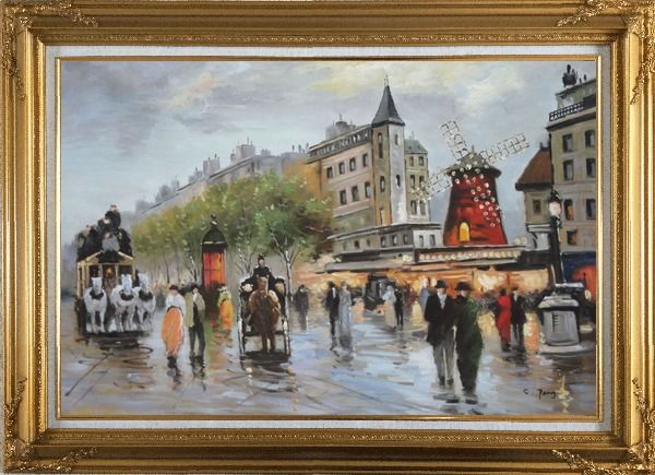 Framed People Walk on Paris Street at Dusk Oil Painting Cityscape France Impressionism Gold Wood Frame with Deco Corners 31 x 43 Inches