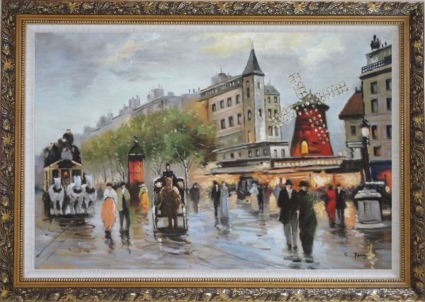 Framed People Walk on Paris Street at Dusk Oil Painting Cityscape France Impressionism Ornate Antique Dark Gold Wood Frame 30 x 42 Inches