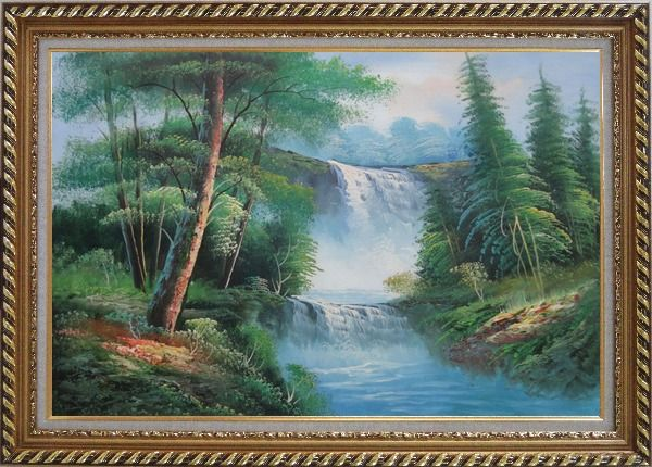 Framed Great Waterfall Scenery, Trees Oil Painting Landscape Naturalism Exquisite Gold Wood Frame 30 x 42 Inches
