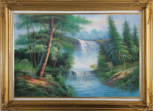 Framed Great Waterfall Scenery, Trees Oil Painting Landscape Naturalism Gold Wood Frame with Deco Corners 31 x 43 Inches