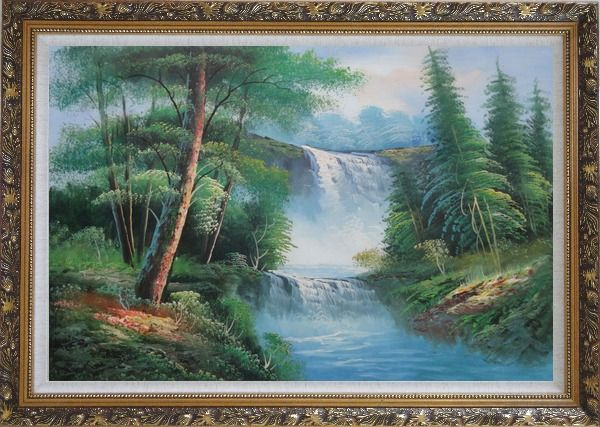 Framed Great Waterfall Scenery, Trees Oil Painting Landscape Naturalism Ornate Antique Dark Gold Wood Frame 30 x 42 Inches