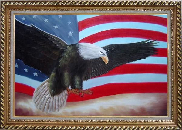 Framed Flying Bald Eagle / American Flag Oil Painting Animal Naturalism Exquisite Gold Wood Frame 30 x 42 Inches