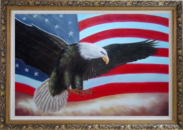 Framed Flying Bald Eagle / American Flag Oil Painting Animal Naturalism Ornate Antique Dark Gold Wood Frame 30 x 42 Inches