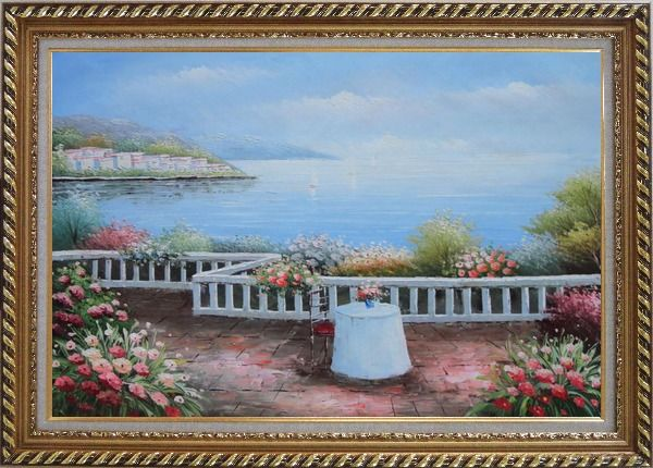 Framed Summer Retreat at Mediterranean Oil Painting Naturalism Exquisite Gold Wood Frame 30 x 42 Inches