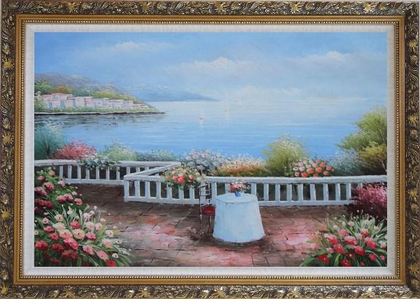 Framed Summer Retreat at Mediterranean Oil Painting Naturalism Ornate Antique Dark Gold Wood Frame 30 x 42 Inches