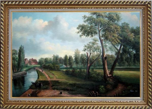 Framed Flatford Mill Oil Painting Landscape River Classic Romanticism Exquisite Gold Wood Frame 30 x 42 Inches