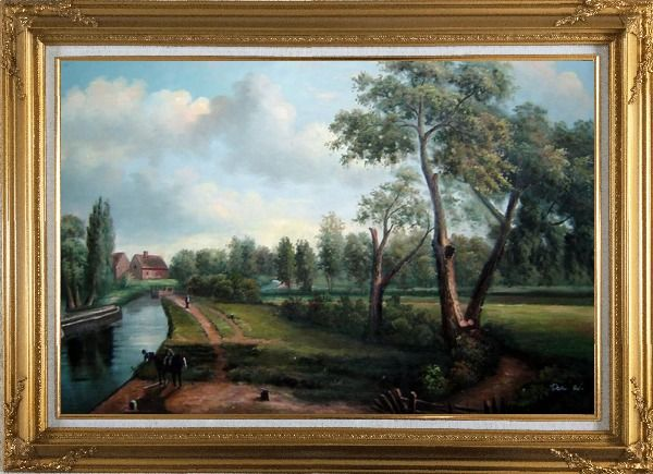 Framed Flatford Mill Oil Painting Landscape River Classic Romanticism Gold Wood Frame with Deco Corners 31 x 43 Inches