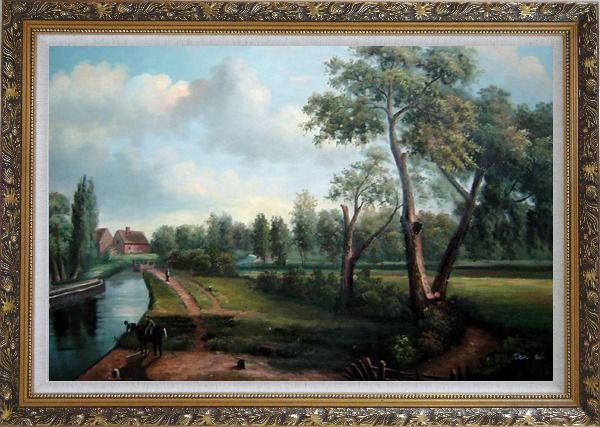 Framed Flatford Mill Oil Painting Landscape River Classic Romanticism Ornate Antique Dark Gold Wood Frame 30 x 42 Inches
