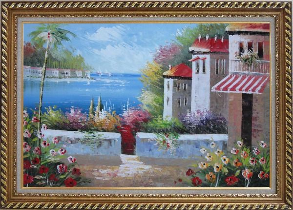 Framed Under the Cozy Mediterranean Summer Sunshine Oil Painting Naturalism Exquisite Gold Wood Frame 30 x 42 Inches