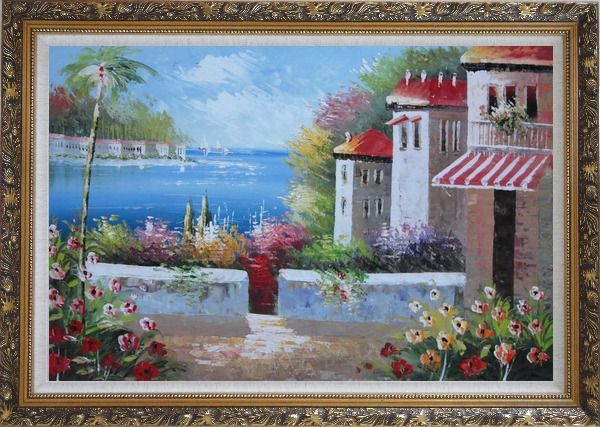 Framed Under the Cozy Mediterranean Summer Sunshine Oil Painting Naturalism Ornate Antique Dark Gold Wood Frame 30 x 42 Inches