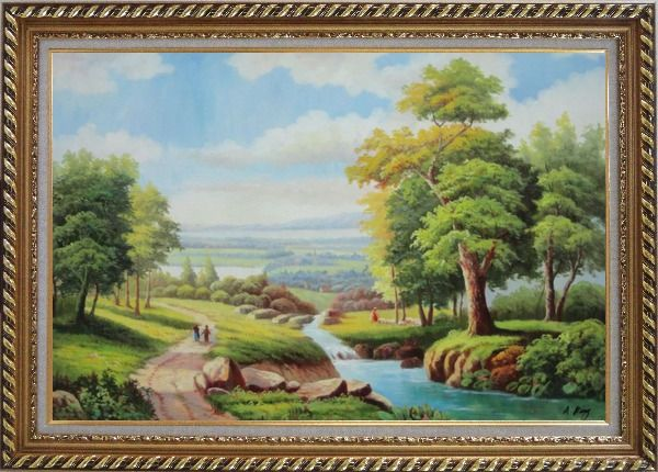 Framed Walking on Village Road with Lake, Mountain and Old Trees Oil Painting Landscape River Classic Exquisite Gold Wood Frame 30 x 42 Inches