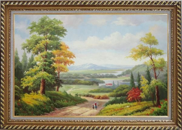 Framed Grandma and I Walking in Peaceful Countryside Landscape Oil Painting River Classic Exquisite Gold Wood Frame 30 x 42 Inches