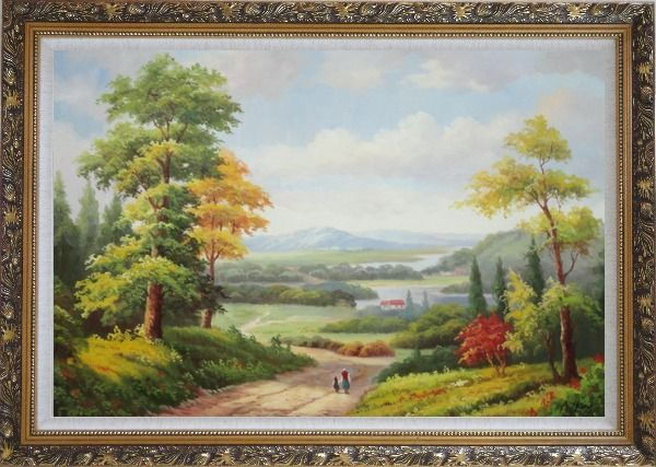 Framed Grandma and I Walking in Peaceful Countryside Landscape Oil Painting River Classic Ornate Antique Dark Gold Wood Frame 30 x 42 Inches