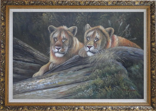 Framed Two Female Lions Lying On Rocks Oil Painting Animal Naturalism Ornate Antique Dark Gold Wood Frame 30 x 42 Inches