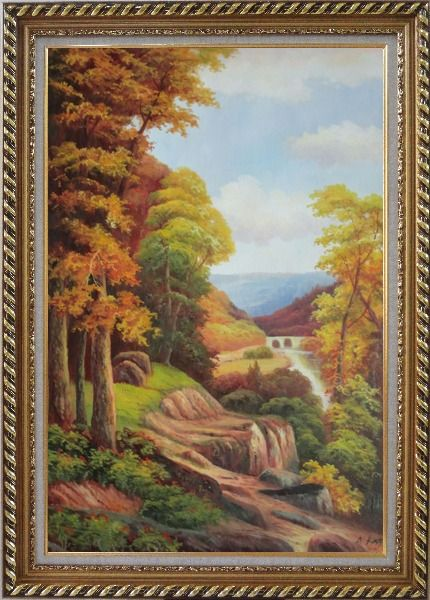 Framed River Bridge With Tall Trees in Autumn Oil Painting Landscape Classic Exquisite Gold Wood Frame 42 x 30 Inches