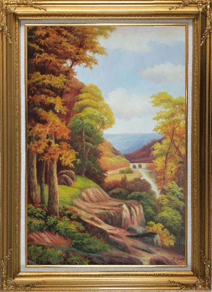 Framed River Bridge With Tall Trees in Autumn Oil Painting Landscape Classic Gold Wood Frame with Deco Corners 43 x 31 Inches