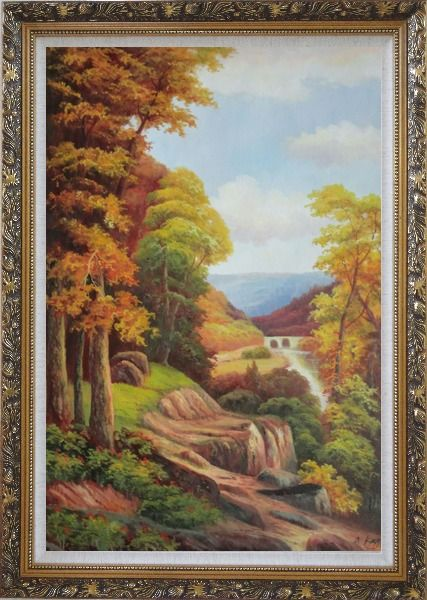 Framed River Bridge With Tall Trees in Autumn Oil Painting Landscape Classic Ornate Antique Dark Gold Wood Frame 42 x 30 Inches