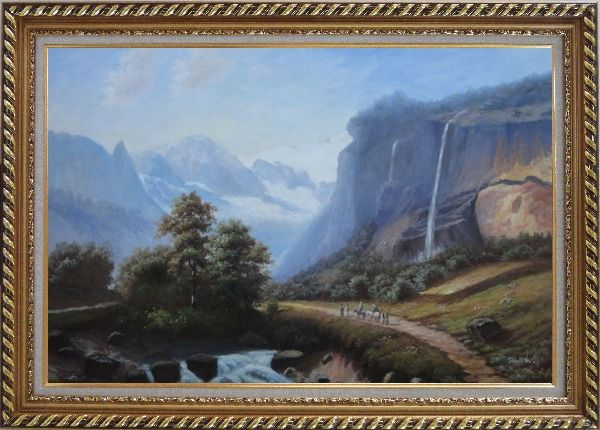 Framed Stream of Water Pour from High Mountain Oil Painting Landscape Waterfall Classic Exquisite Gold Wood Frame 30 x 42 Inches