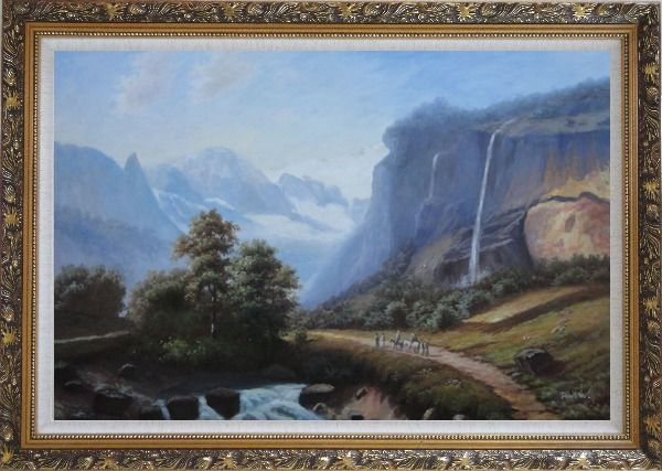 Framed Stream of Water Pour from High Mountain Oil Painting Landscape Waterfall Classic Ornate Antique Dark Gold Wood Frame 30 x 42 Inches
