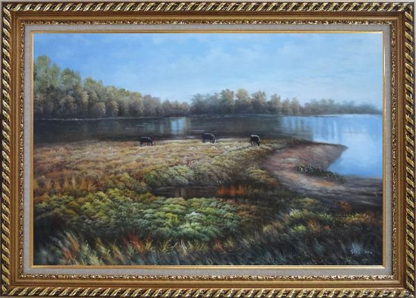 Framed Herd Feed Themselves on Lakeside Grassland Oil Painting Landscape River Classic Exquisite Gold Wood Frame 30 x 42 Inches