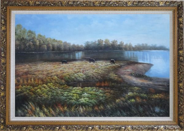 Framed Herd Feed Themselves on Lakeside Grassland Oil Painting Landscape River Classic Ornate Antique Dark Gold Wood Frame 30 x 42 Inches