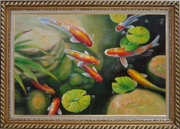 Framed Koi Fish Pond with Lotus Oil Painting Animal Marine Life Asian Exquisite Gold Wood Frame 30 x 42 Inches