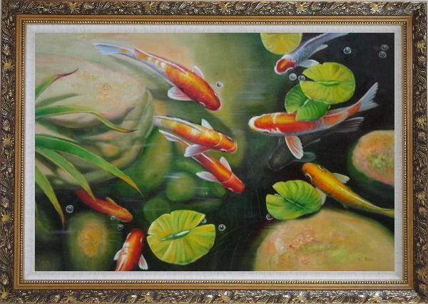 Framed Koi Fish Pond with Lotus Oil Painting Animal Marine Life Asian Ornate Antique Dark Gold Wood Frame 30 x 42 Inches