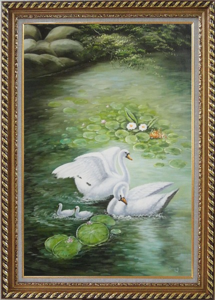 Framed White Swan Family Enjoy Pleasant Spring Time On Lotus Pond Oil Painting Animal Naturalism Exquisite Gold Wood Frame 42 x 30 Inches