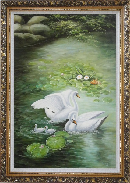 Framed White Swan Family Enjoy Pleasant Spring Time On Lotus Pond Oil Painting Animal Naturalism Ornate Antique Dark Gold Wood Frame 42 x 30 Inches