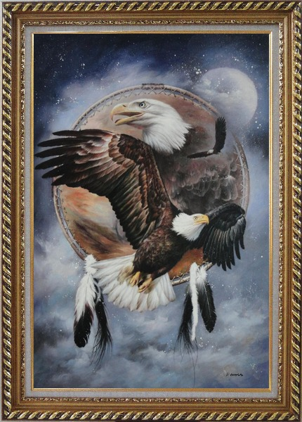 Framed Native American Art of Bald Eagles Oil Painting Animal Modern Exquisite Gold Wood Frame 42 x 30 Inches