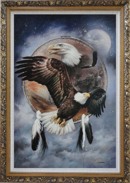 Framed Native American Art of Bald Eagles Oil Painting Animal Modern Ornate Antique Dark Gold Wood Frame 42 x 30 Inches