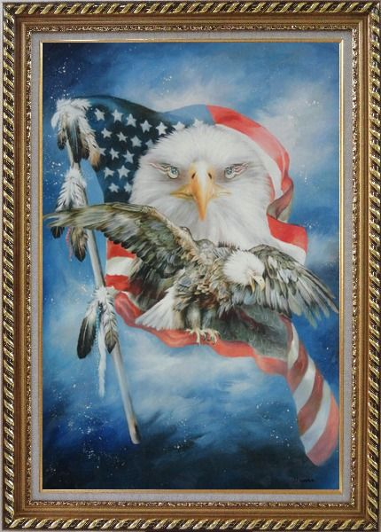 Framed Two Blad Eagles With American Flag Oil Painting Animal Modern Exquisite Gold Wood Frame 42 x 30 Inches