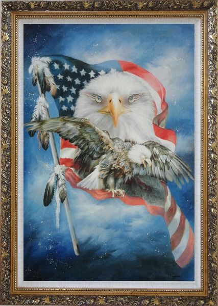 Framed Two Blad Eagles With American Flag Oil Painting Animal Modern Ornate Antique Dark Gold Wood Frame 42 x 30 Inches