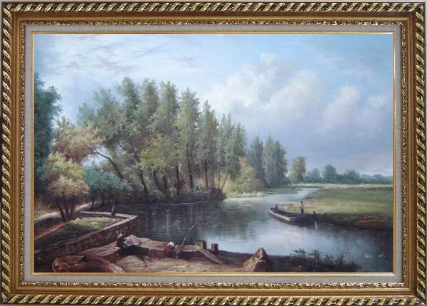 Framed River Voyage Oil Painting Landscape Classic Exquisite Gold Wood Frame 30 x 42 Inches