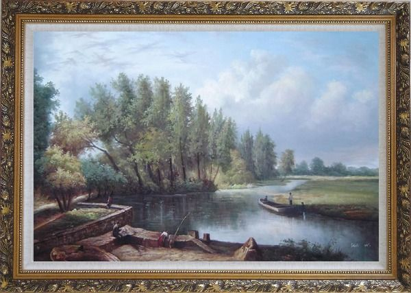Framed River Voyage Oil Painting Landscape Classic Ornate Antique Dark Gold Wood Frame 30 x 42 Inches