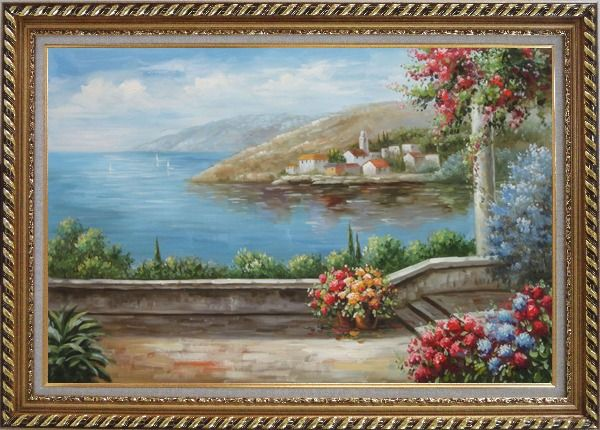Framed Patio, Red-Roof House, Flower Gardens of Mediterranean Coast Oil Painting Naturalism Exquisite Gold Wood Frame 30 x 42 Inches