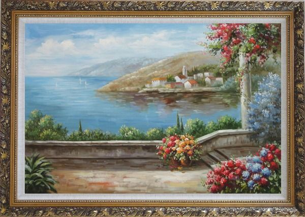 Framed Patio, Red-Roof House, Flower Gardens of Mediterranean Coast Oil Painting Naturalism Ornate Antique Dark Gold Wood Frame 30 x 42 Inches