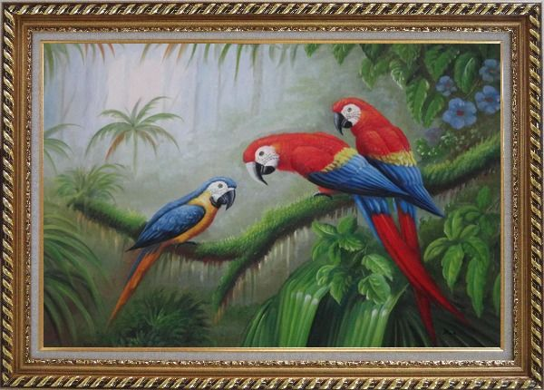 Framed One Blue and Two Red Parrots Perched on Tree Oil Painting Animal Classic Exquisite Gold Wood Frame 30 x 42 Inches