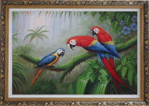 Framed One Blue and Two Red Parrots Perched on Tree Oil Painting Animal Classic Ornate Antique Dark Gold Wood Frame 30 x 42 Inches
