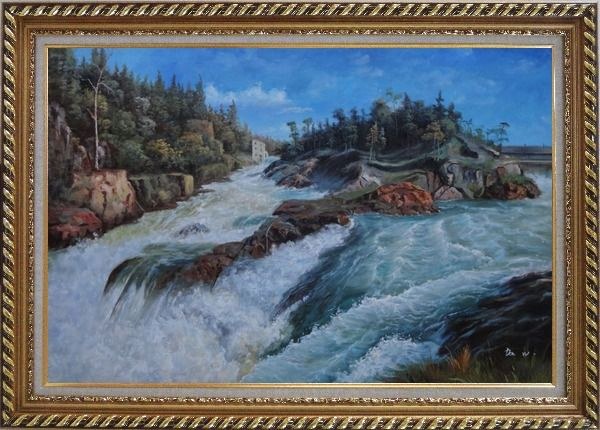 Framed River Rushing Flows Oil Painting Landscape Classic Exquisite Gold Wood Frame 30 x 42 Inches