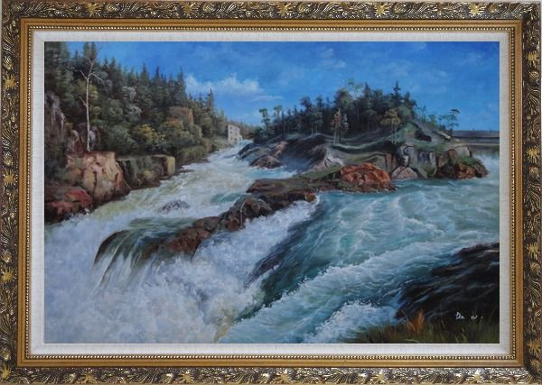 Framed River Rushing Flows Oil Painting Landscape Classic Ornate Antique Dark Gold Wood Frame 30 x 42 Inches
