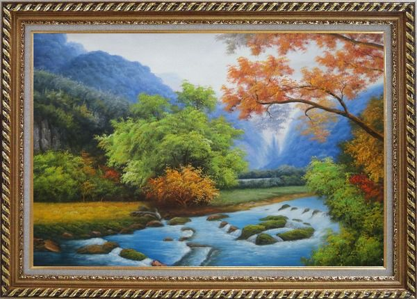 Framed Water Stream in a Gorgeous Landscape with Mountain and Trees Oil Painting River Naturalism Exquisite Gold Wood Frame 30 x 42 Inches
