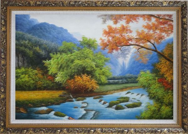 Framed Water Stream in a Gorgeous Landscape with Mountain and Trees Oil Painting River Naturalism Ornate Antique Dark Gold Wood Frame 30 x 42 Inches
