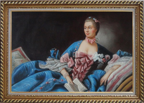Framed Lady In Gorgeous Costumes Reclining On Bed With Book Oil Painting Portraits Woman Classic Exquisite Gold Wood Frame 30 x 42 Inches
